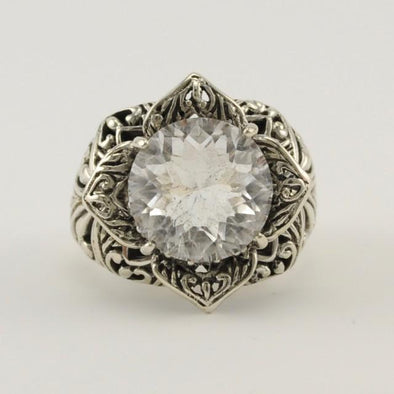 Sterling Silver White Quartz Flower Ring Size 7