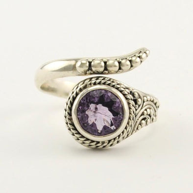 Sterling Silver Amethyst Round Wrap Ring Size 8