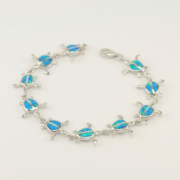 Sterling Silver Created Opal Sea Turtle Bracelet