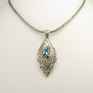 Sterling Silver Blue Topaz and White Topaz Pendant