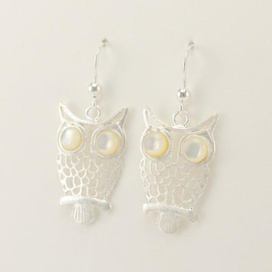 Sterling Silver Mother of Pearl Owl Dangle Earrings