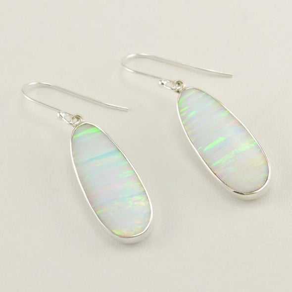 Sterling Silver Created White Opal Earrings