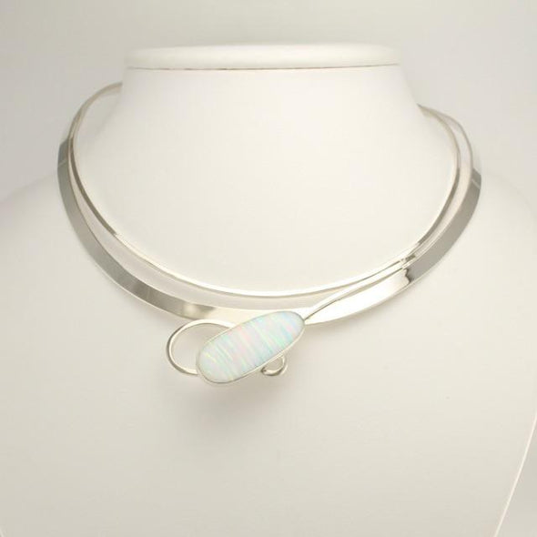 Sterling Silver Created White Opal Neck Collar