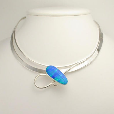 Sterling Silver Created Blue Opal Neck Collar