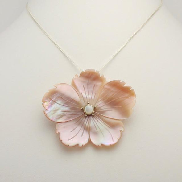 Sterling Silver Pink Shell Flower Pin or Pendant