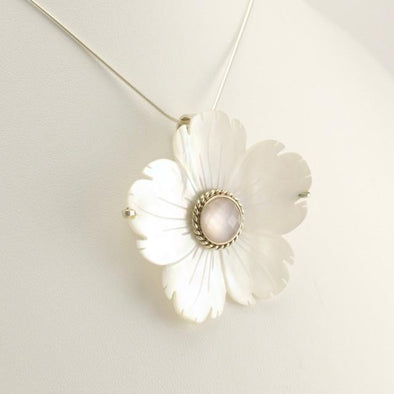 Sterling Silver Mother of Pearl Flower Pin or Pendant