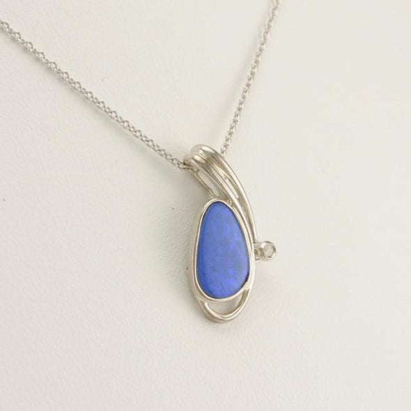 Sterling Silver Blue Australian Opal White Sapphire Necklace