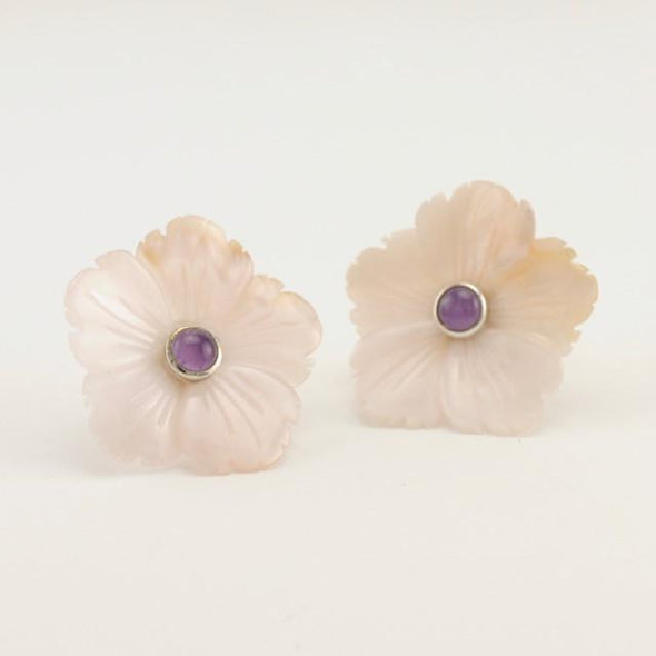 Sterling Silver Pink Shell Amethyst Flower Earring