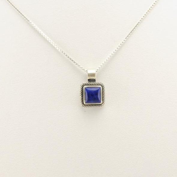 Sterling Silver Lapis Square Drop 18 Inch Necklace