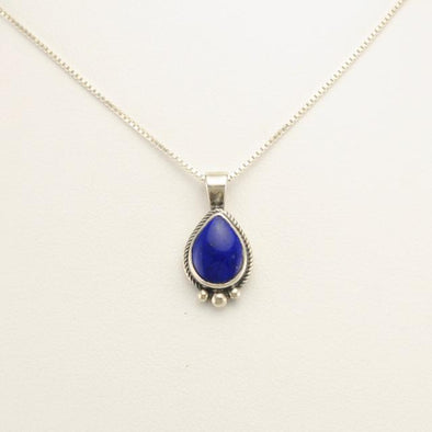 Sterling Silver Lapis Teardrop 18 Inch Necklace