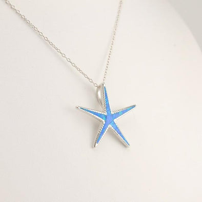 Sterling Silver Created Opal Starfish Necklace
