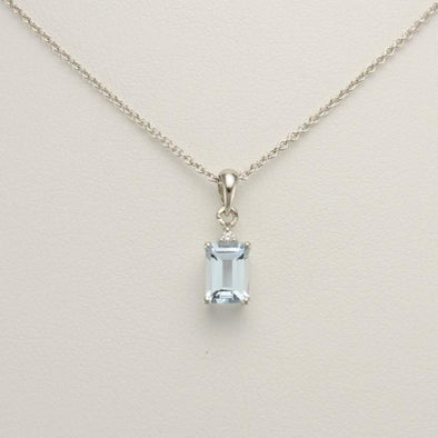 Sterling Silver Aquamarine .8ct Rectangle Cubic Zirconia Necklace