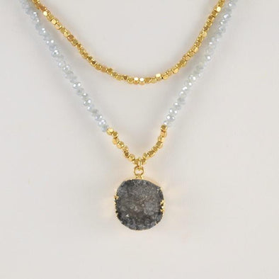 Handmade Charcoal Druzy Crystal Necklace