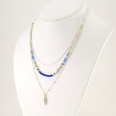 Handmade Blue Gem and Crystal Feather Necklace