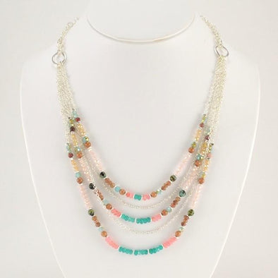 Handmade Multicolored Gem and Crystal Multi-Strand Necklace