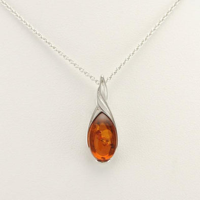 Sterling Silver Baltic Amber Teardrop Necklace