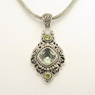 Sterling Silver Prasiolite and Peridot Pendant