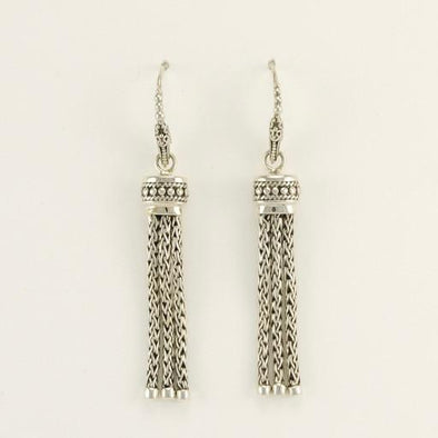 Sterling Silver Bali Tassel Dangle Earrings