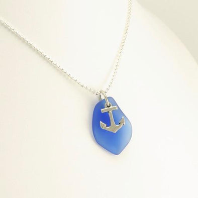 Blue Sea Glass Anchor Necklace