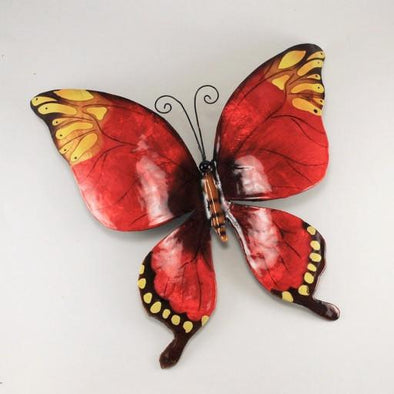 Red Butterfly Capiz and Metal Wall Decor