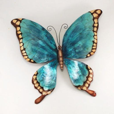Blue Butterfly Capiz and Metal Wall Decor