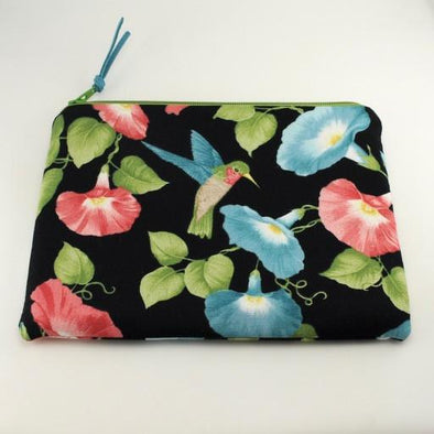 Morning Glory Hummingbird Jewelry Zipper Pouch