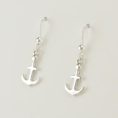 Sterling Silver Anchor Dangle Earrings