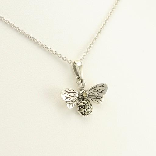 "Sterling Silver Marcasite Bee 18"" Necklace"
