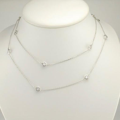 Sterling Silver Cubic Zirconia 31 to 32 Inch Necklace