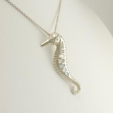 Sterling Silver Mother of Pearl Seahorse 18 Inch Necklace