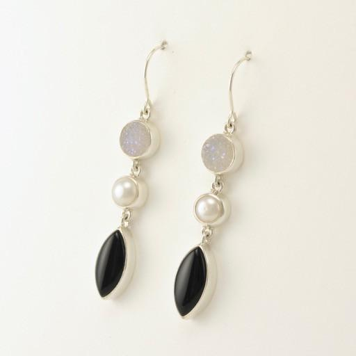 Sterling Silver Druzy Pearl Black Onyx Earrings