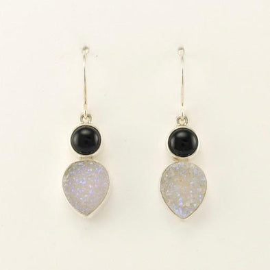 Sterling Silver Black Onyx Druzy Agate Earrings