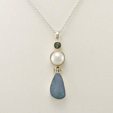 Sterling Silver Green Topaz Pearl Opal 18 Inch Necklace