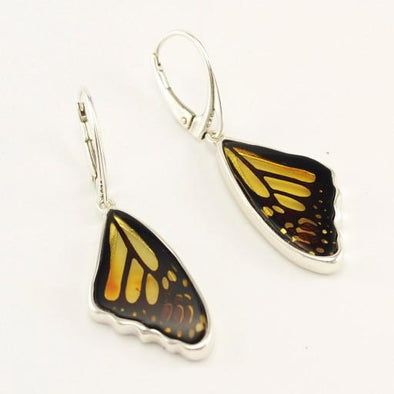 Sterling Silver Amber Butterfly Wing Earrings
