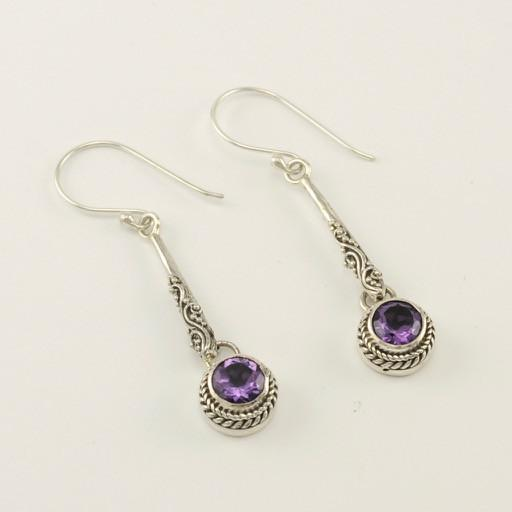Sterling Silver Amethyst Round Drop Earrings