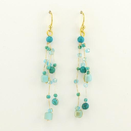 Vermeil Turquoise Crystal Earrings