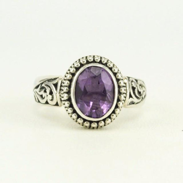 Sterling Silver Amethyst Oval Ring Size 7