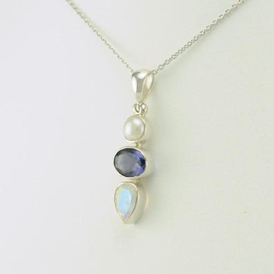 Sterling Silver Pearl Iolite Moonstone Necklace