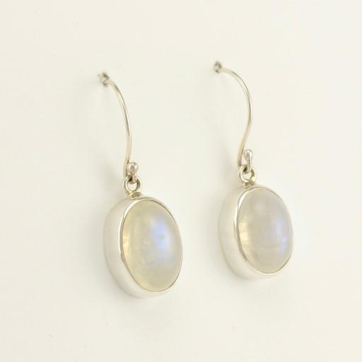 Sterling Silver Rainbow Moonstone Oval Earrings