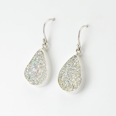 Silver Opal Druzy Agate Dangle Earrings
