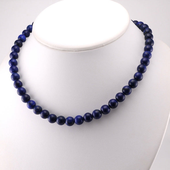 Lapis 8mm Round Bead Necklace