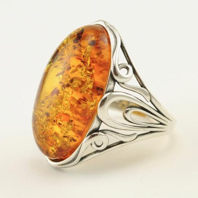 Sterling Silver Baltic Amber Long Oval Ring Size 8