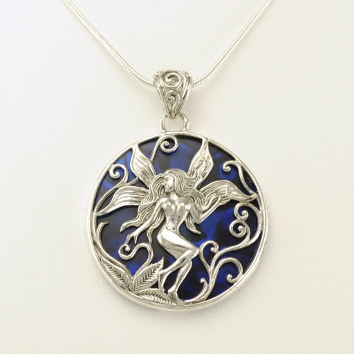 Sterling silver blue abalone fairy pendant abalone fairy pendant aloadofball Images