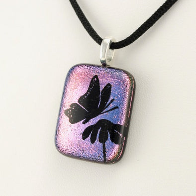 Dichroic Glass Butterfly Necklace