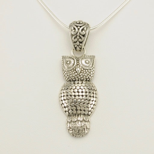 Sterling silver bali owl pendant silver owl pendant mozeypictures Image collections