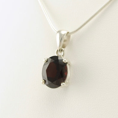 Garnet Oval Prong Set Pendant