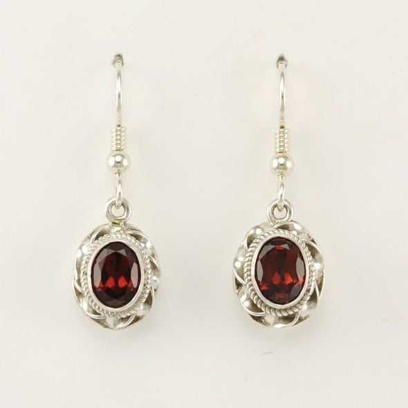 Sterling Silver Garnet Oval Ribbon Twist Earrrings