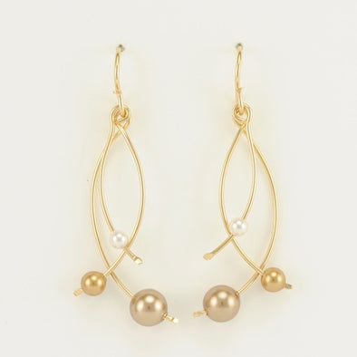 Three Tone Bronze Pearl Earrings