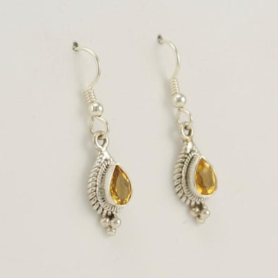 Sterling Silver Citrine 5x7mm Teardrop Dangle Earring