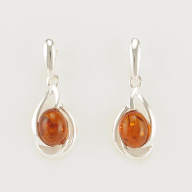 Amber Oval Dangle Earrings